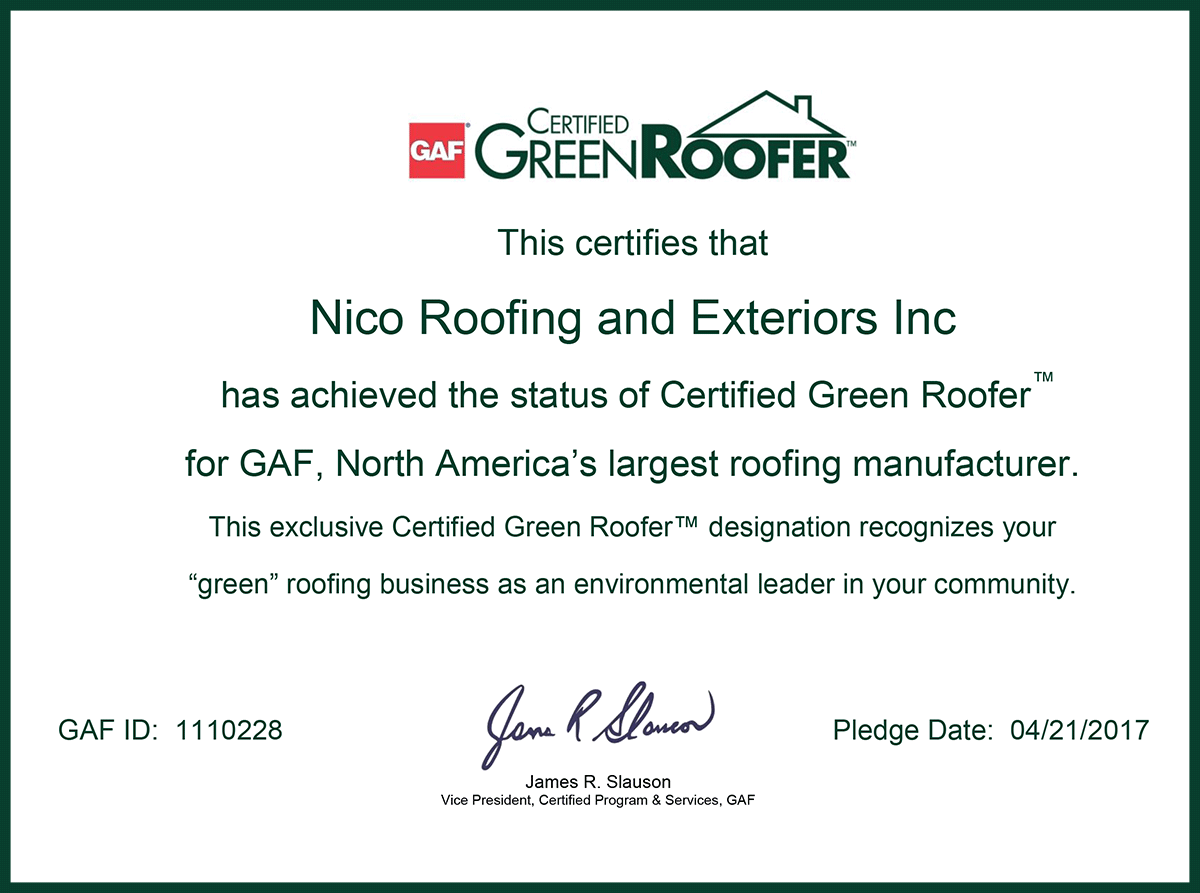 green roofer certificate for Nico roofing contractors