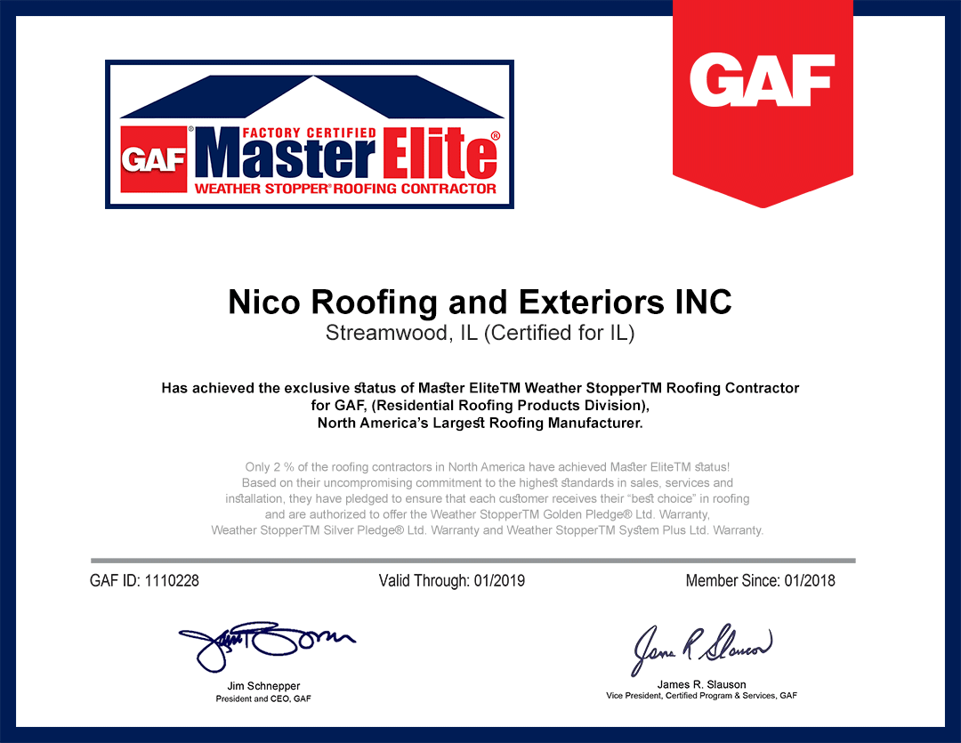 master elite certificate for Nico roofing contractors