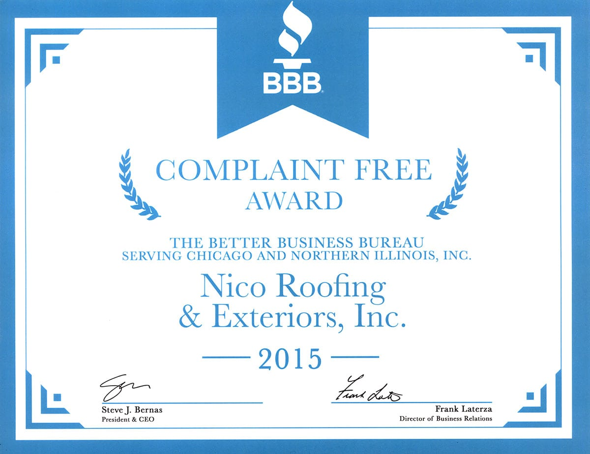 bbb certificate for Nico roofing contractors