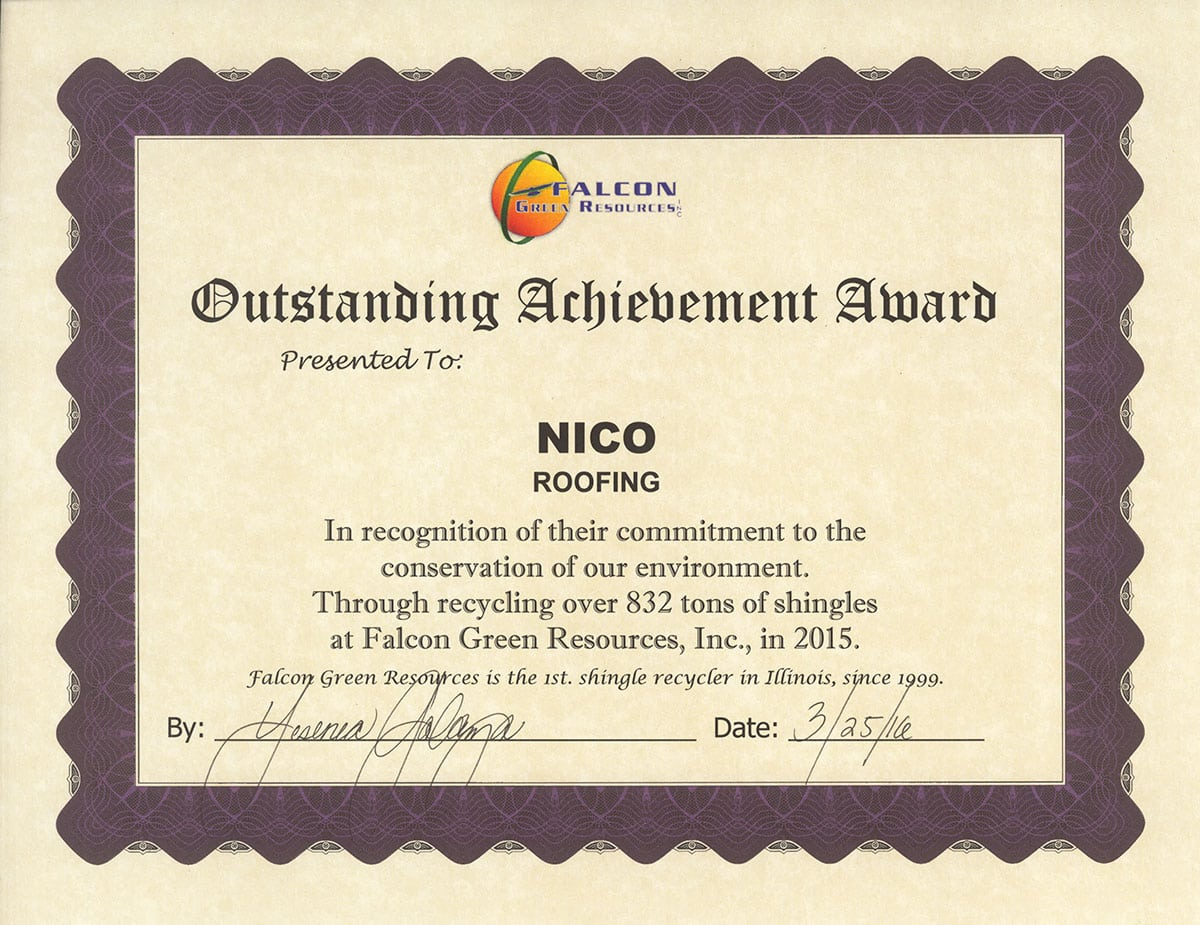 falcon certificate for Nico roofing contractors